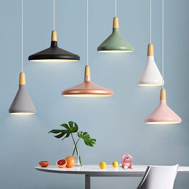Nordic Modern Restaurant Pendant Lights Wood Aluminum Lampshade Fixtures Lights for decor E27 Hanging Lamps