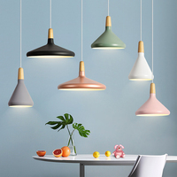 Nordic Modern Restaurant Pendant Lights Wood & Aluminum Lampshade Fixtures Lights for decor E27 Hanging Lamps