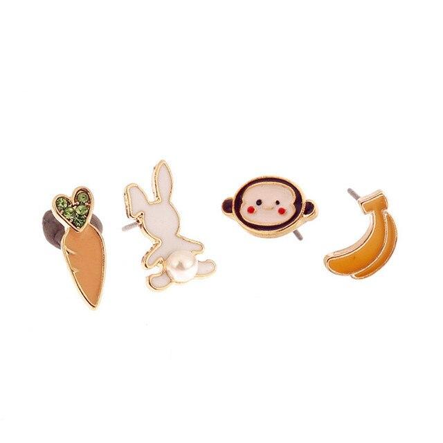 מפעל מכירות אופנה התכה יפה ילדה עגילי טמפרמנט ארנב גזר קופים בננות בעלי החיים stud עגילים
