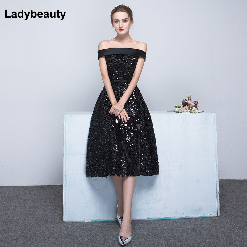 Ladybeauty 2019 Short Evening Dresses black Sequins Wedding Party Dress Boat Neck A Line Prom Formal