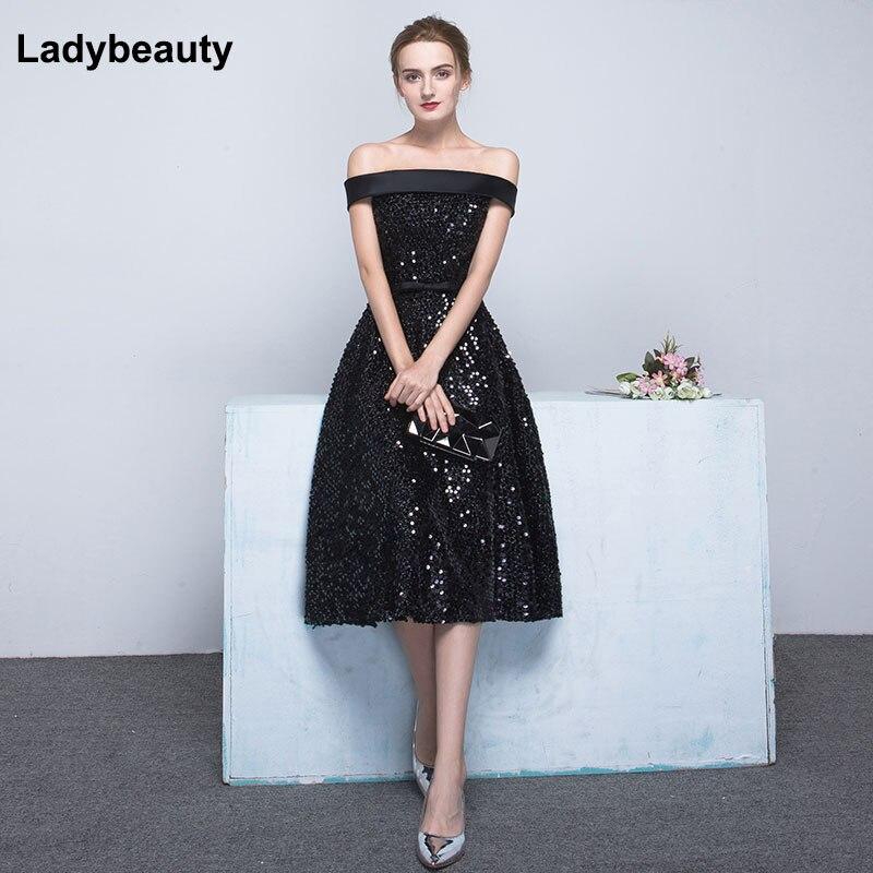 Ladybeauty 2019 Short   Evening     Dresses   black Sequins Wedding Party   Dress   Boat Neck A-Line Prom Formal   Dress   Vestidos