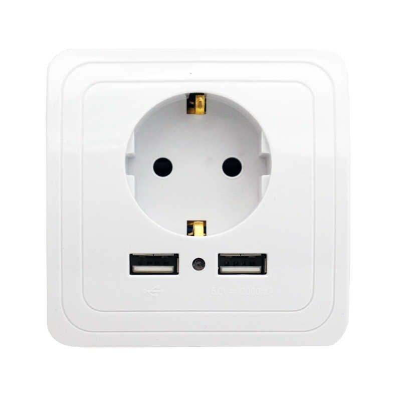 Minitiger חכם בית 2A כפולה יציאת USB מטען קיר מתאם טעינת Socket עם usb קיר מתאם האיחוד האירופי Plug Socket כוח לשקע