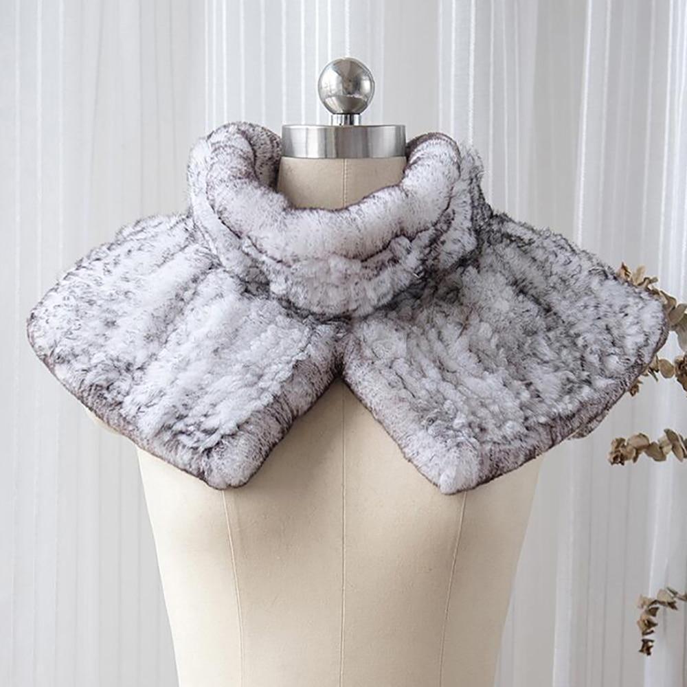 [YCFUR] Winter Warm   Scarf   Shawl Women Knit Rex Rabbit Fur   Scarves   Shawls Female Neck Warmer   Scarves     Wraps   Ladies