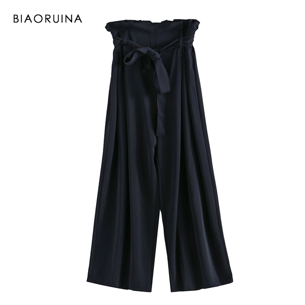 BIAORUINA Women Fashion Acetate Solid   Wide     Leg     Pant   Ankle Length Female Loose High Waist   Pant   Trousers with Sash New Arrival