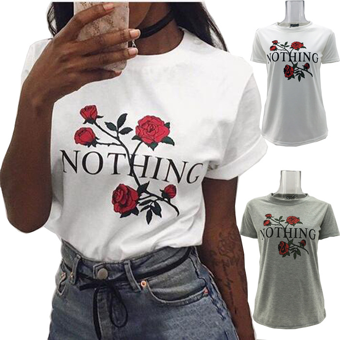 Summer Tops Tees Ladies Short T Shirt Women Rose Print Letter Nothing Cotton Female Tshirt Womens