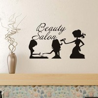 Girls Nail Care Hair Style Beauty Salon Art Wall Stickers For Living Room Vinyl Wallpaper Decals Poster Barber Shop Wall Decor