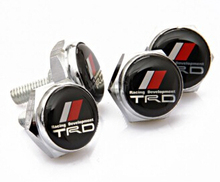 4 pieces metal license plate frame bolts screws for toyta trd camry corolla prius rav4 highlander
