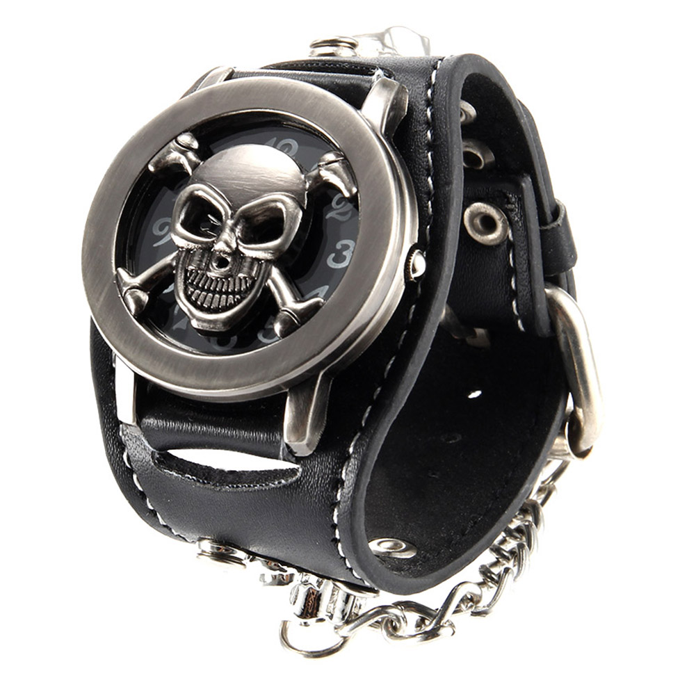Men Punk Style Quartz Wrist Watch With Flip Skull Cover Chain Rivet Strap Cool Watches LL@17