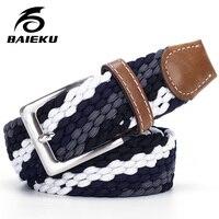 Haute qualité stretch femmes toile ceintures pour hommes élastique ceinture boucle ardillon Universel pantalon poches six couleurs BAIEKU marque