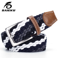 Baieku Belt Young Male Pin Buckle Elastic Stretch Woven Belt Belt Canvas Belt Male Men And