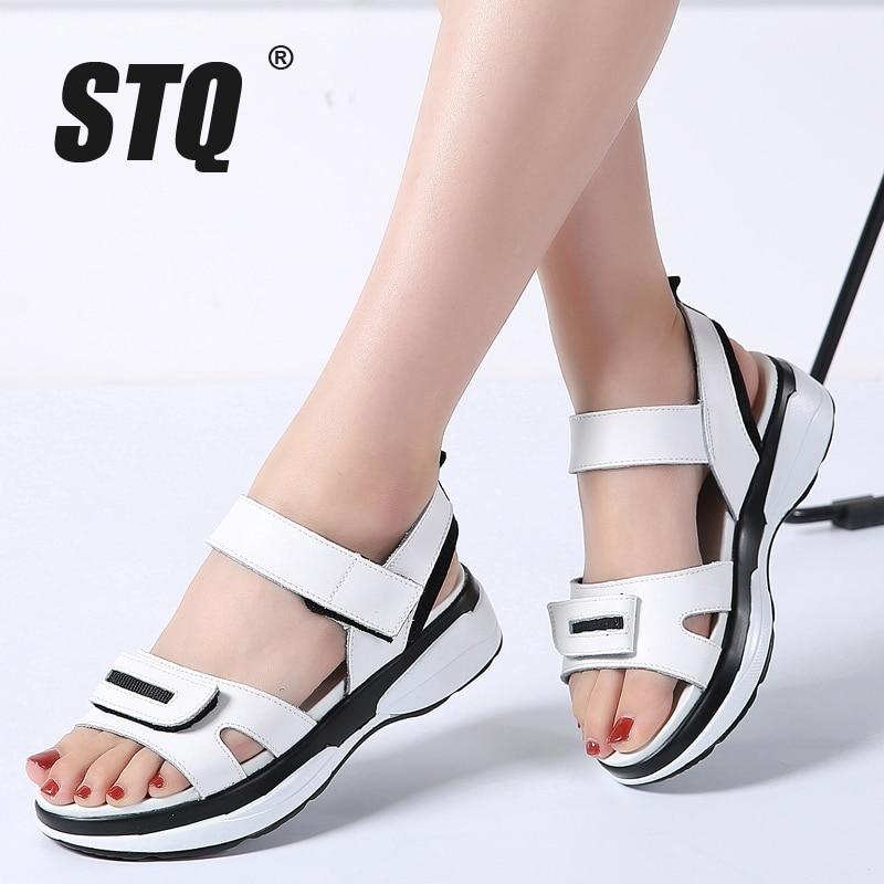 O16U 2018 Summer Women Slippers Shoes genuine leather Open Toe middle heel shoes  Women platform Slippers white Slides Flip Flops 46b04e557ab0
