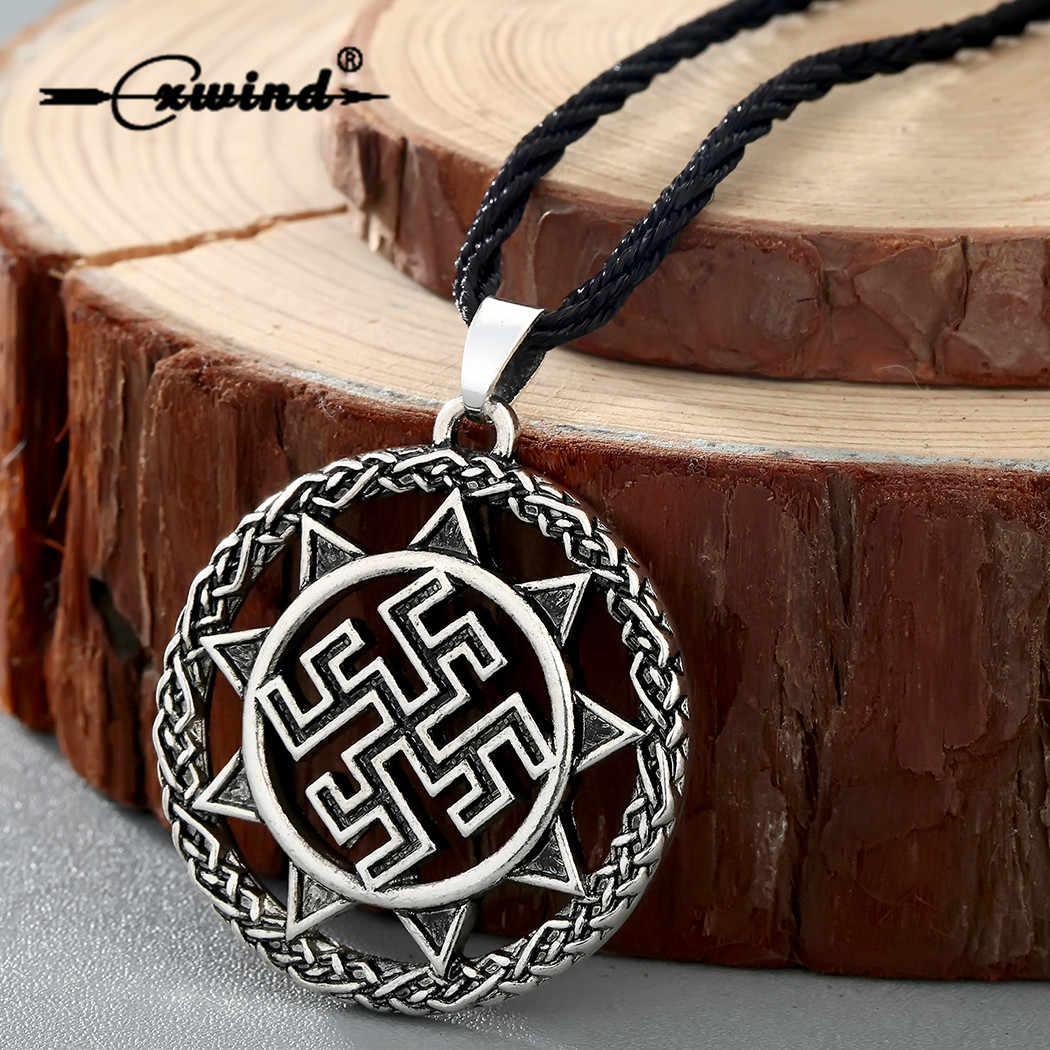 Cxwind Retro Eslavo Forte Proteção Amuleto Cura Pingente Antigo Símbolo Talismã Eslava Jóia Dos Homens Colar de Pingente Viking