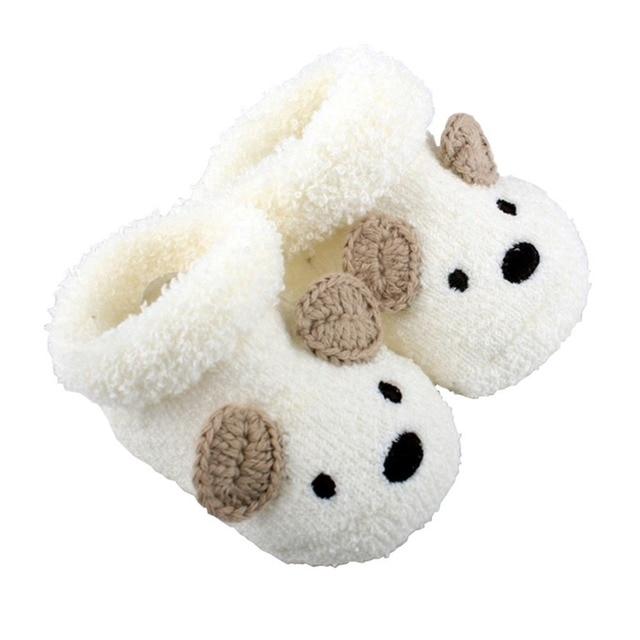 Free Shipping Cute Cartoon Baby Socks Bear Manual Slipper Shoes Newborn to 3 Month Autumn Winter Infant Gift Drop Shipping