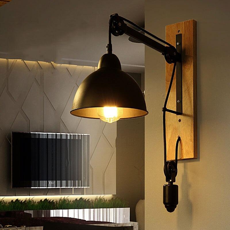 купить Loft retro lamp vintage lifting pulley wall lamp dining room restaurant aisle corridor pub cafe wall lamp bra wall sconce по цене 2176.6 рублей