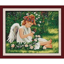 Joy sunday Angel on greenery Chinese cross stitch kits Ecological cotton stamped printed 14 11CT DIY wedding decoration for home