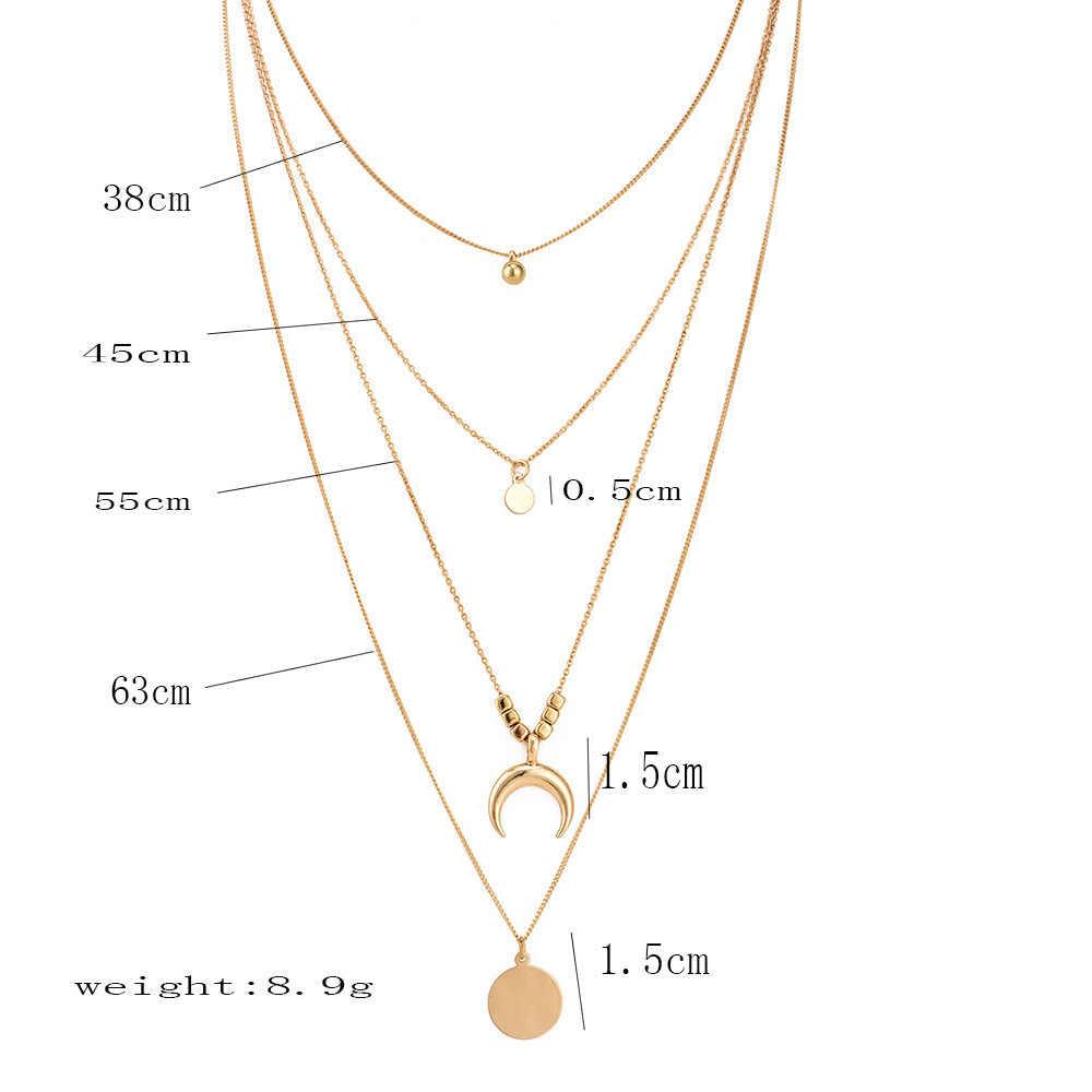 Mode multicouche colliers et pendentifs Vintage lune Collier ras du cou pour les femmes or Collier Femme bijoux de fête