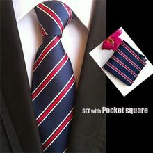 QXY brand mens fashion font b tie b font set pocket square men neckties white red