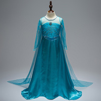 Cute Summer Girls Dress Cosplay Elsa Costume Snow Queen Movie Princess Party And Wedding Roupas For