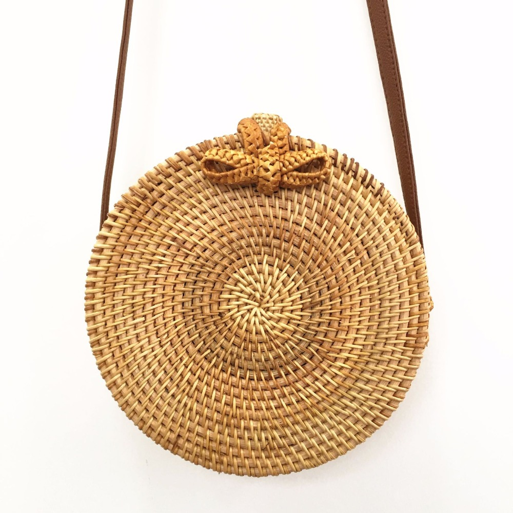 Bowkno knitted woven rattan bag spanning beaches, straw womens bags, round shoulder bags