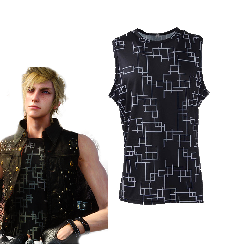Hot Game Final Fantasy XV Prompto Argentum Cosplay Costume Halloween Carnival FF15 Prompto Tshirt Black Spandex Sleeveless Tee