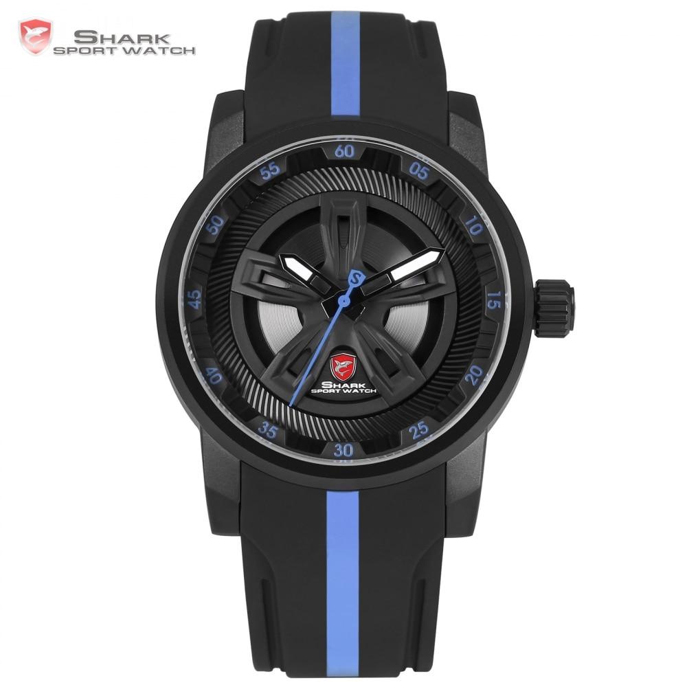 Thresher SHARK Sport Watch Cool Racing Layer Blue 3D Wheel Design Dial Crown Quartz Silicone Strap Men Wrist Watches /SH504 cool dial blue backlight led wrist watch 2 x cr2016