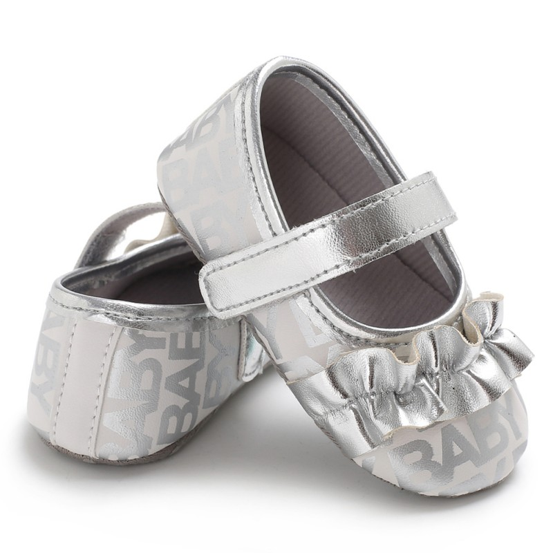 2018 Fashion Baby First Walkers Spring / Autumn Silver Gold Color Bling Shallow Newborn Crib Shoes 0-18 Months