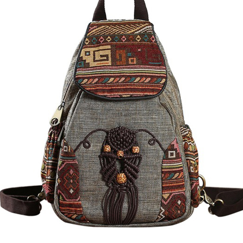 Nationally Backpack Female Printing Backpack Travel Vintage Canvas Mochila Fashion Bagpack For Girls Mochila Feminina Rucksack
