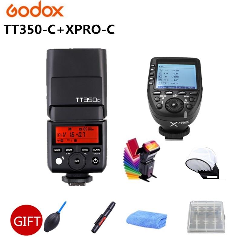 Flash GODOX TT350C d'origine 2.4G HSS GN36 TTL Mini flash Speedlite + XPRO-C pour Canon EOS 800D 650D 600D 750D 77D M5 M3