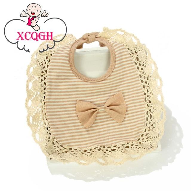 XCQGH Baby Bibs Cotton Lace Bow Strip Girl Dribble Bibs Infant Toddler Baberos Bebes Baby Boy Bib Bandana Bib For Feeding