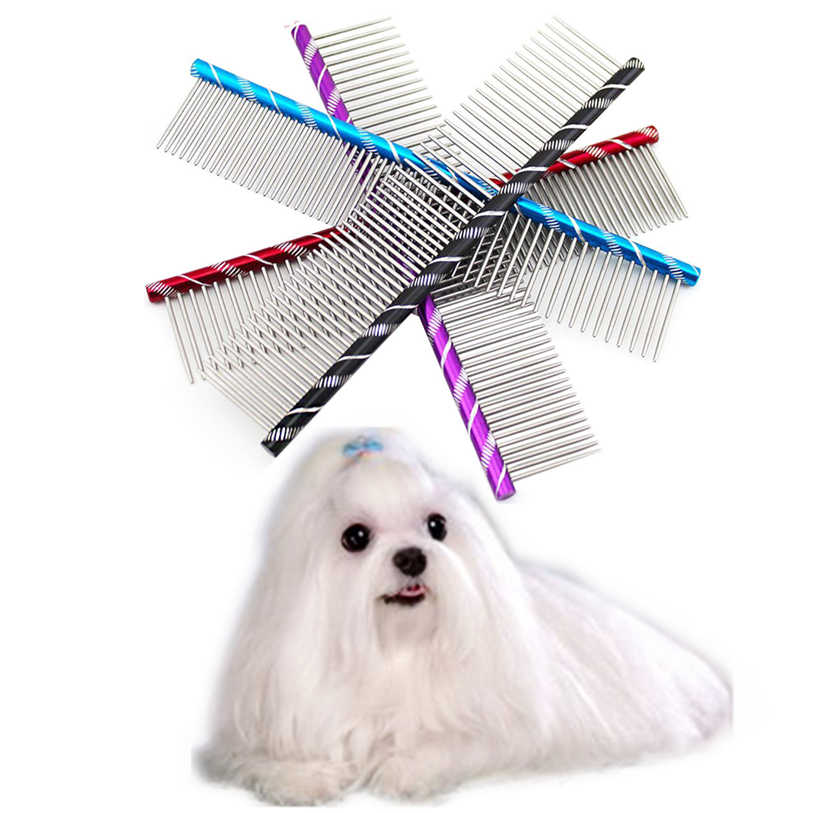 19cm Dog Brush Fancy Stainless Steel Pin Brush Comb For Dogs Cats High Quality Hairbrush Dog Grooming Tool Wholesale 40DC20