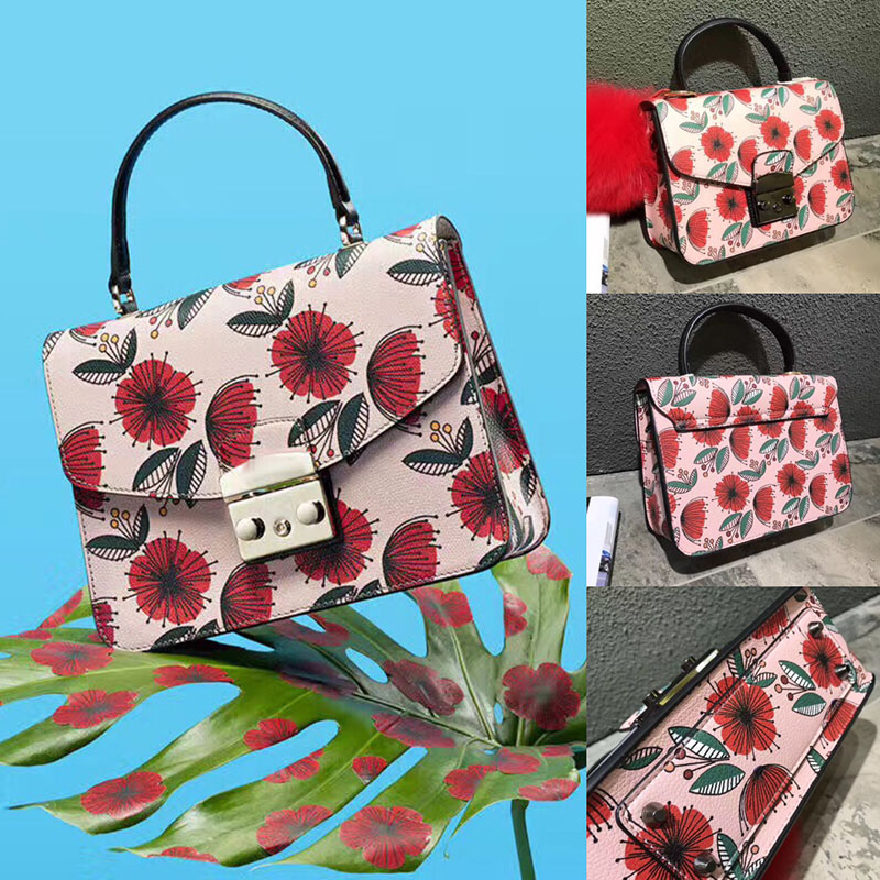 Luxury Italy Brand Handbag Flowers Printing Women Shoulder Bags Famous Design Fashion Crossbody Bag Handbags and Purse for Women famous brand women canvas bags shoulder bag italy handbag style retro handmade bolsa feminina braccialini for ladies mexico bags