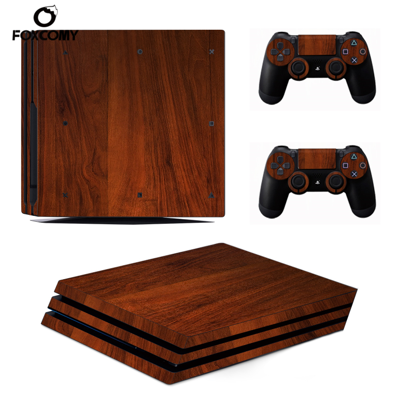 Wood STICKERBOMB Console Skin Cover For Playstation 4 Pro Console PS4 Pro Skin Stickers Controller LED Protective image