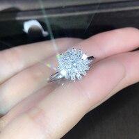 EDI Light Luxury Diamond Engagement Ring Real 18k White Gold 0.4cttw Natural Diamond Wedding Ring Gift Snowflake Design