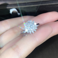 EDI Light Luxury Diamond Engagement Ring Real 18k White Gold 0.4cttw Natural Diamond Wedding Ring Gift Snowflake Design
