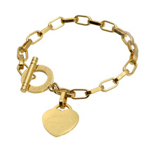 Fashion Bracelet for Women Heart Rose Gold Jewelry Link Chain Lady Forever Love Words Stainless Steel Bracelet fashion love forever rose pattern bracelet silver