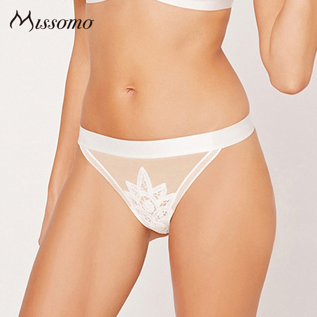 Missomo New Fashion White Panty Women Sexy Low Rise Plant Print Lingerie Mesh Semi-sheer Hollow Out Underwear Summer Thin Briefs