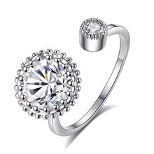 Anéis abertos para mulheres festa de luxo com cristal ajustável anel feminino dedo jóias moda