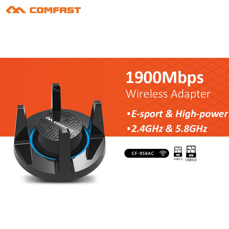 1900 Mbps 2.4G & 5.8G double bande e-sports adaptateur sans fil haute puissance USB WiFi récepteur haute vitesse jeu carte réseau