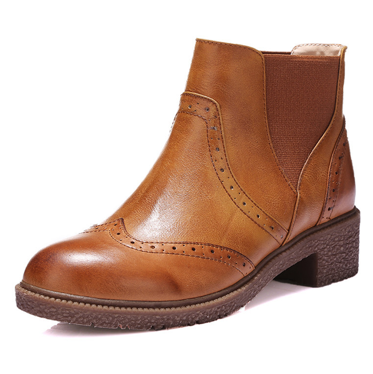 ФОТО New Round Toe Fashion Ankle Boots For Women Black Platform High Quality Full Grain Leather  Boots Platform Shoes