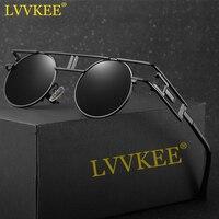 LVVKEE Polarized Gothic Steampunk Sunglasses Men Women Fashion Brand Designer Metal Frame Round Sun Glasses Oculos