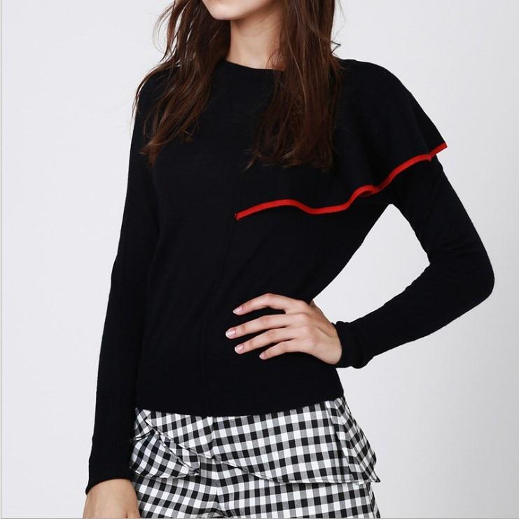 2017 Autumn Designer Woman Elegant Ruffle Runway Pullovers Long Sleeve Asymmetric Knitted Sweater
