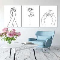 Laeacco скандинавский абстрактный холст картина с каллиграфией розы руки плакаты Печать Современные настенные художественные картины украше...