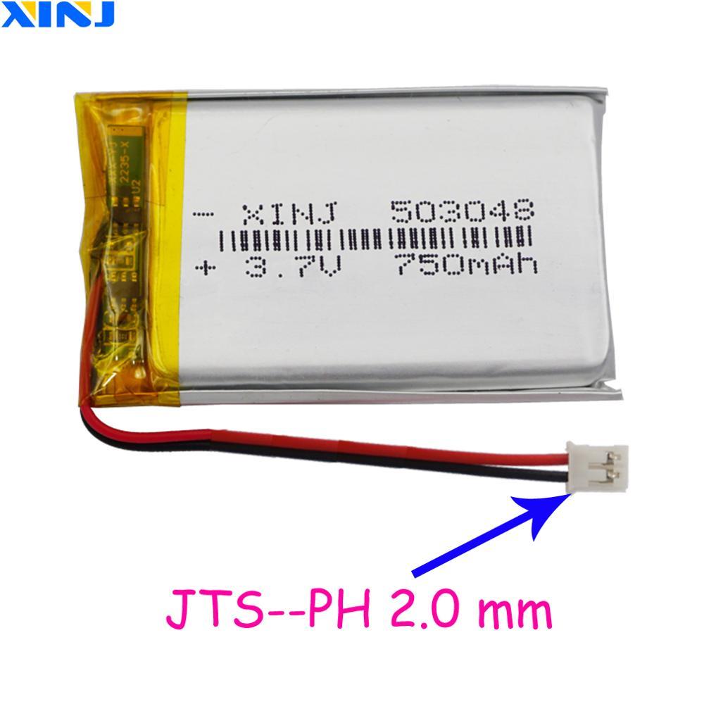 XINJ 3.7V 750mAh Li Lithium Polymer Battery 2pin JST-PH 2.0mm Plug 503048 For Sat Nav Car DVR DVC Camera Mp4 Driving Recorder