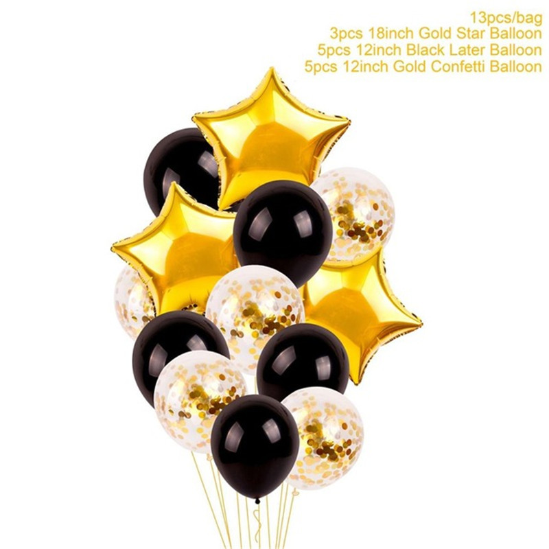 Gold Black Balloons 30 40 50 60 70 Happy Birthday Party Decorations Adult DIY Supplies Anniversary Decoration