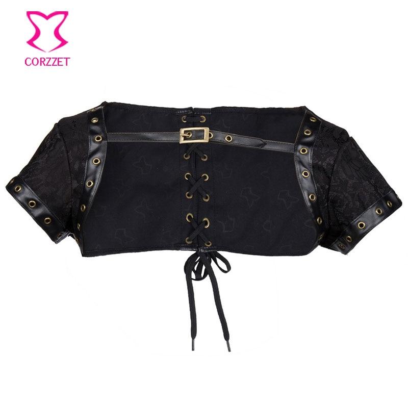 Jaket Korset Hitam Wanita Mantel Bolero Plus Ukuran Korset Dan Bustiers Kostum Steampunk Seksi Aksesori Pakaian Gothic Vintage