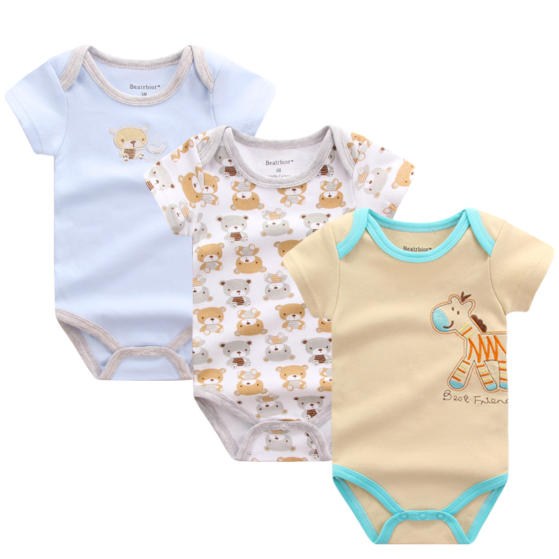 New in 2018 Baby Boy Clothes Cartoon Printed Jumpsuit Baby Rompers Short Sleeve New Born Baby Clothing Body Baby Costume