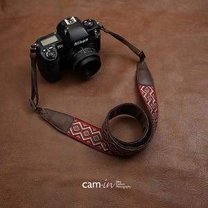 Image 2 - カムイン CAM7416 刺繍ウェビング牛革ユニバーサルカメラレフベルト一般的な調節可能なストラップ