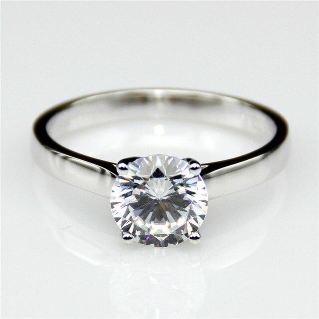 LASAMERO Classic Solitaire 1CT Round Moissanites Lab Grown Diamond ...