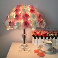Роза свадебный подарок настольные лампы, хрустальные лампы спальня ночники украшения лампа Европейский творческий свадьба брак читальный ...