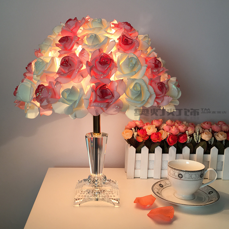 rose wedding gift Table lamp Crystal lamp bedroom bedside lamp decoration lamp European creative wedding marriage room reading 100pcs lot red rose table decoration place card wedding party decoration laser cut heart floral wine glass paper place cards